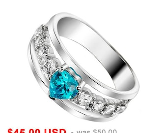Heart Wedding Band Heart Wedding Ring Heart Promise Ring for Her Heart Engagement Ring CZ Stacking Ring Blue Wedding Ring Aquamarine Ring