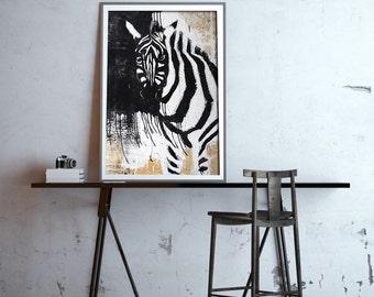 Zebra Print, Safari Nursery Art, Black and White Wall Decor, Black and White Print, Black and White Art,Zebra Painting,Zebra Art, #525ZE