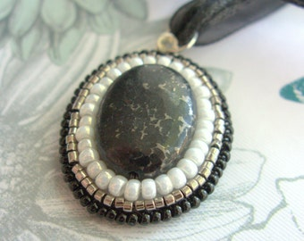 Black and Pearl Pendant, Victorian Style, Vintage Oval Necklace with Bead Embroidery, Gift Idea for Girlfriend, Wife, Daughter, Sister