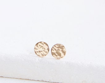 Hammered Circle Studs | gold-filled or sterling silver circle earrings | Ready to Ship