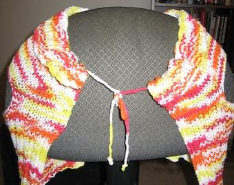 Handknitted Cotton Orange Yellow Bolero Shrug Shawl