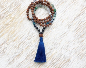 Rudraksha Mala, Mala Necklace, Blue Multi Gemstone Mala, Mala Beads 108, Rudraksha Necklace, Prayer Beads, Buddhist Jewelry, 108 Mala Beads