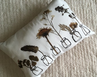 Botanical Pillow, Linen Pillow, Bedding, Farmhouse Decor, Pillow, Couch Cushion, Home Decor, Pressed Flower Art
