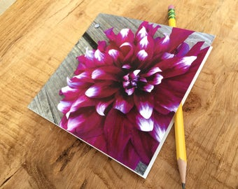 Dahlia Notecard- Purple and White Bloom