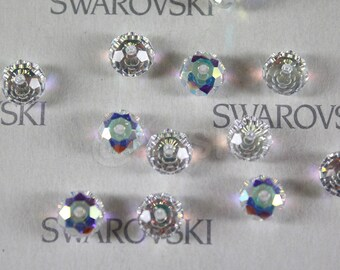 6 pieces Swarovski Elements 5040 6mm RONDELLE Spacer Beads - Crystal Clear AB