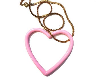 Pastel Grunge Pink or Blue Big Heart Necklace