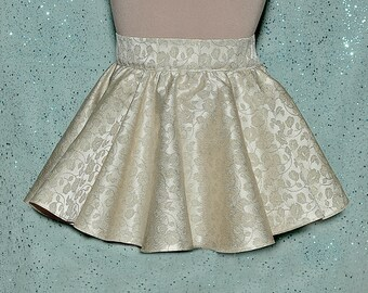 Ivory Gold Metallic  Brocade  Mini circle skirt.. size Small to Medium ..waist..26.. finished length 13 inches , side zipper..holiday,
