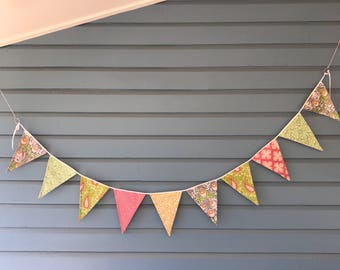 Pink, yellow and green bunting