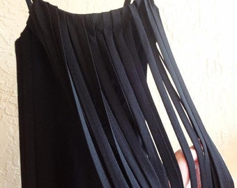 Vintage 1960s Flapper  Style 1920s  Chemise Style Black Crepe Dress  Petite Size