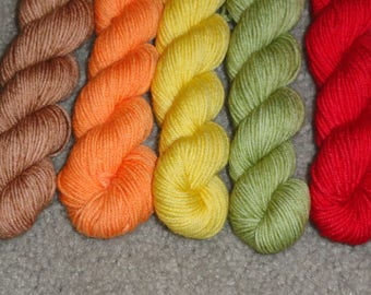 FALLing Leaves Superwash Merino/Nylon Sock Mini Skein Set