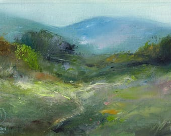 Meadow in Pastel Shades - 4x6 inches ORIGINAL OIL PAINTING