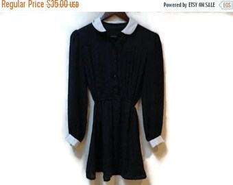 SALE Peter Pan Collar Dress- Black Sheer with White trim - Button down front - Elegant 60s 70s XS S