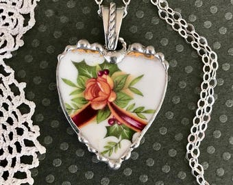 Necklace, Broken China Jewelry, Broken China Necklace, Heart Pendant, Old Country Rose, Christmas Jewelry, Soldered Jewelry, Sterling Silver