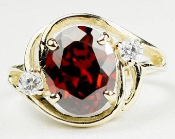 Garnet CZ, 18KY Gold Ring, R021