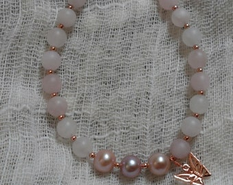 Frosted Rose Quartz and Pearl Bracelet