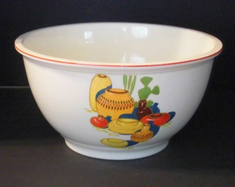 Pottery Mixing Bowl Lrg. Homer Laughlin 1935  Mexicana Kitchen Kraft Oven Serve Bowl