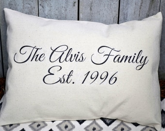 Personalized family Name pillow, 2nd anniversary, cotton anniversary, last name pillow, closing gift, trending now, best selling, new home