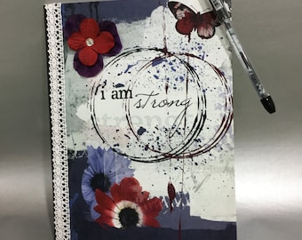 I Am Strong - Altered Composition Notebook / Journal