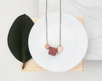 Isla Necklace |  Geometric trio  |  Shades of rose