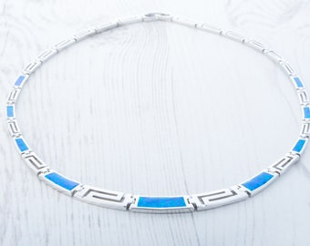 Natural blue & green Opal and Sterling silver Necklace
