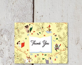 "Little Golden Book Thank You Card  |  Blank Interior | Printable Digital Download | 5.5x4.25"" A2"
