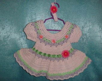 Baby Girl Crochet Dress Flower Outfit Party  Birthday Gift