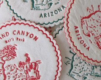 Vintage Souvenir Coasters, Arizona Coasters, Grand Canyon Souvenir, Paper Coasters, Wax Bottom Coasters, Coffee Coasters, Arizona Souvenirs