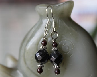 Black Faceted  Hematite with Red Garnet Earrings, sterling silver hook