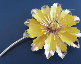 Vintage Yellow Enamel Flower Brooch Gold Tone Stem Pin