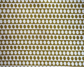 Vintage Fabric 70's Polyester, Green, White, Oval, Material, Textiles