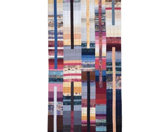"""Art Quilt, Quilt Art, Wallhanging. Rising #38 - Brick, Slate and Mortar. 49""""H x 24""""W. Pieced and quilted in 100% cotton, hanging sleeve."""