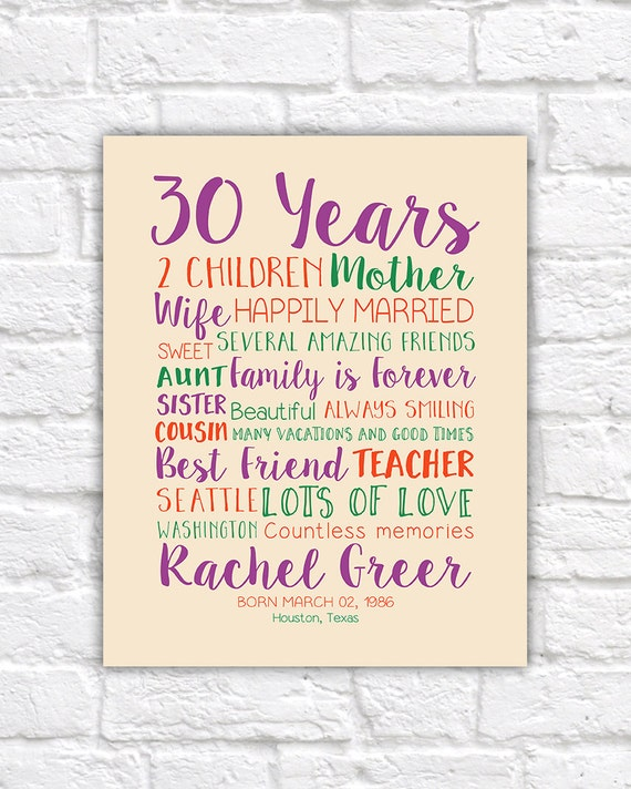 30th birthday gift custom art gift for wife best friends like this item bookmarktalkfo Image collections