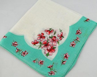 Vintage Hankie Turquoise for Framing Sewing Quilting T-17