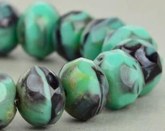 Turquoise, Black and Gray Czech Rondelle Beads - Quantity 10 - 9x6MM