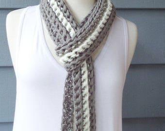 Knit Crochet, Long Scarf, Chunky Scarf, Skinny Scarf -- Custom Colors