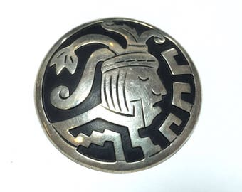 Taxco Sterling Silver Overlay Pendant/Brooch