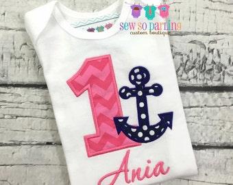 Girl Nautical Birthday Outfit - 1st Birthday Anchor Birthday Outfit girl - 1st Birthday Outfit - Pink and navy anchor birthday shirt ANY AGE