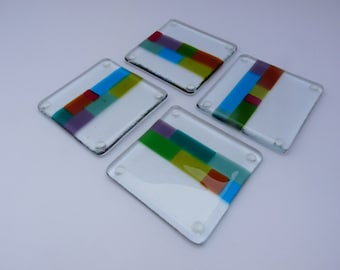 Fused Glass Coasters Clear Stripe