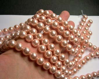 Pearl  - 12mm round -  Peach - 1 full strand - 33 beads - SPT19 - Shell pearl