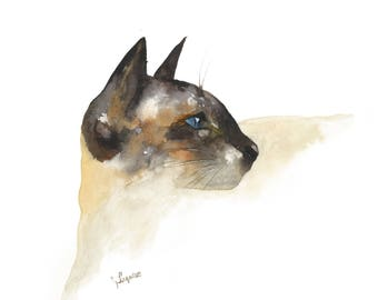 Watercolor cat painting, cat art, cat print, watercolor painting, siamese cat painting, cream, watercolor animals, siamese cat