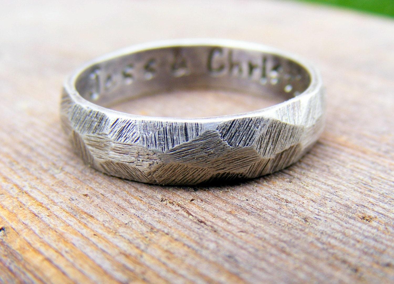 Palladium Sterling Silver Wedding Ring Mens Textured Ring Band