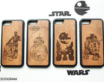 Star Wars iPhone case BB-8 R2D2 C-3PO Darth Vader Death Star Stormtrooper Yoda Star Wars gift iPhone 7 case iPhone 8 Plus case iPhone 5 case