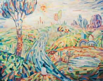 Magic Fields. Oil Painting, Oil Art, Abstract art, Abstract Painting, Landscape Art, Wall Art, Original Oil Art,