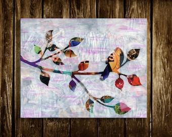 Bird wall hanging, bird decorations, Bohemian decor, Whimsical Prints, whimsical designs, Mixed Media collage art, Whimsical animal art