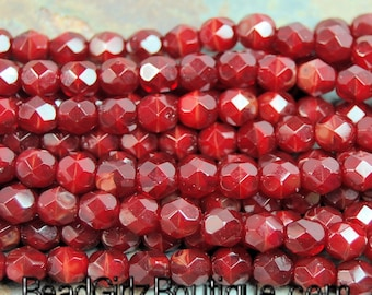 Oxblood Red Crystal Czech Glass Bead 6mm Round - 25 Pc