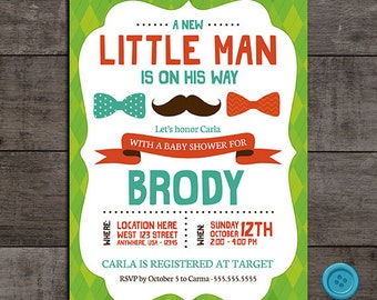 Mustache and Bowtie  Little Man Baby Shower Invitation - Customizable - Digital File