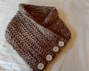 Hand Crocheted Two-Tone Tan Buttoned Neck Warmer Cowl