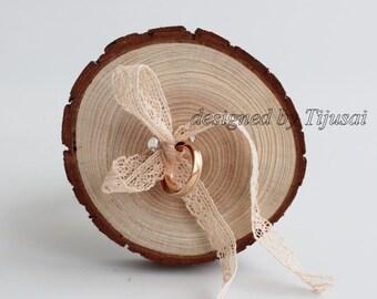 Ring bearer wood slice-wedding ring holder, ready to ship