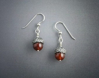 Acorn Sterling Silver Earrings, Carnelian, Hook