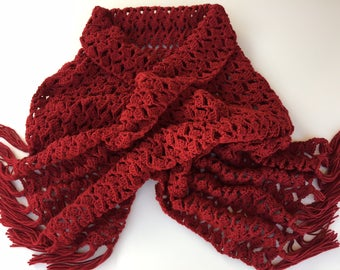 READY TO SHIP/Crochet Scarf Wrap/Knit Shawl/Long Wrap/Red Wrap/Extra Long/Wide/Adult/Women's/Ladies/Blanket Scarf/Scarf with Fringe/Tassels